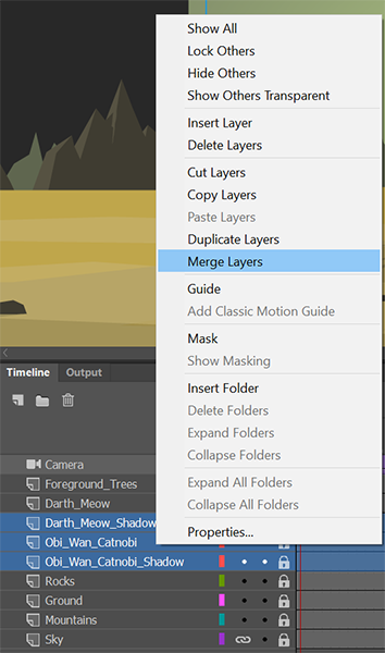 Merge layers in timeline