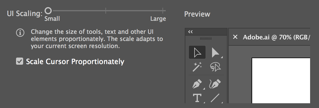 Changing the UI scaling through User Interface preferences