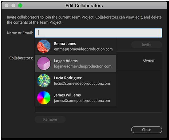 Invite collaborators to your team project