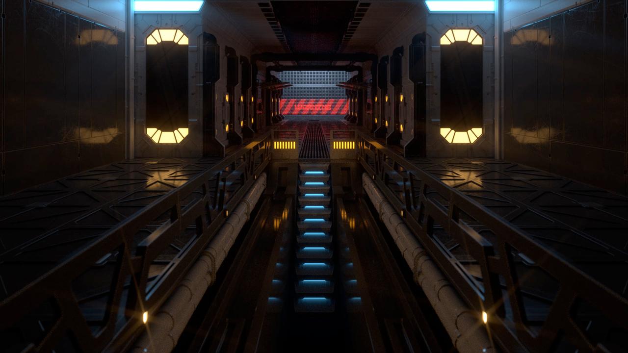 renderking hard surfaces sci-fi server room