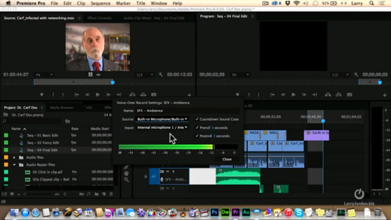 How to record a voice-over into an Adobe Premiere Pro timeline