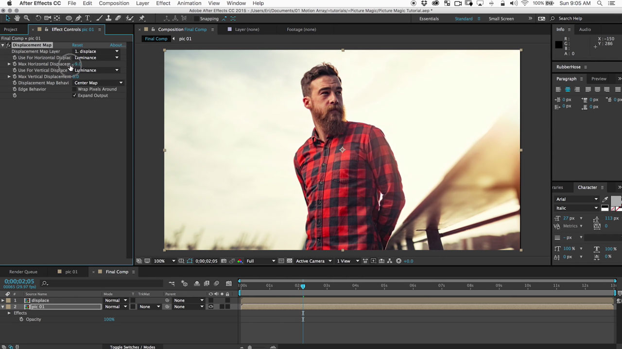 After Effects: Create Camera Moves on 2D Images Using Displacements