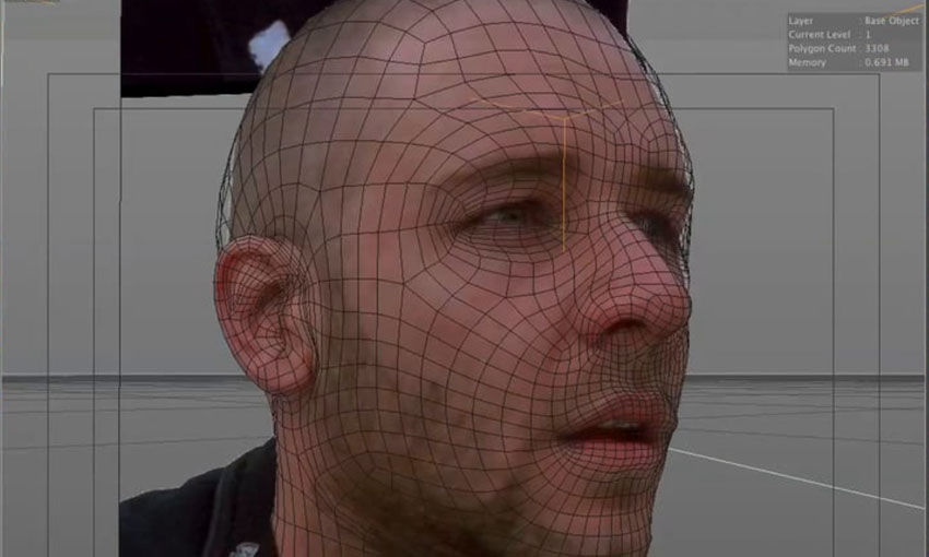 Camera mapping a head using camera mapping and sculpt tools