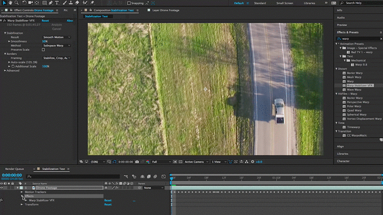 After Effects: How to stabilize footage natively in AE