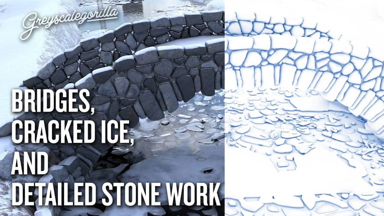 C4D: From Images to Splines to Geometry - Bridges, Cracked Ice, and Stone Work