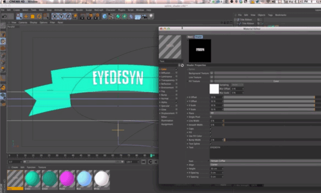 Using the Spline Shader to Create Text as a Material in CINEMA 4D