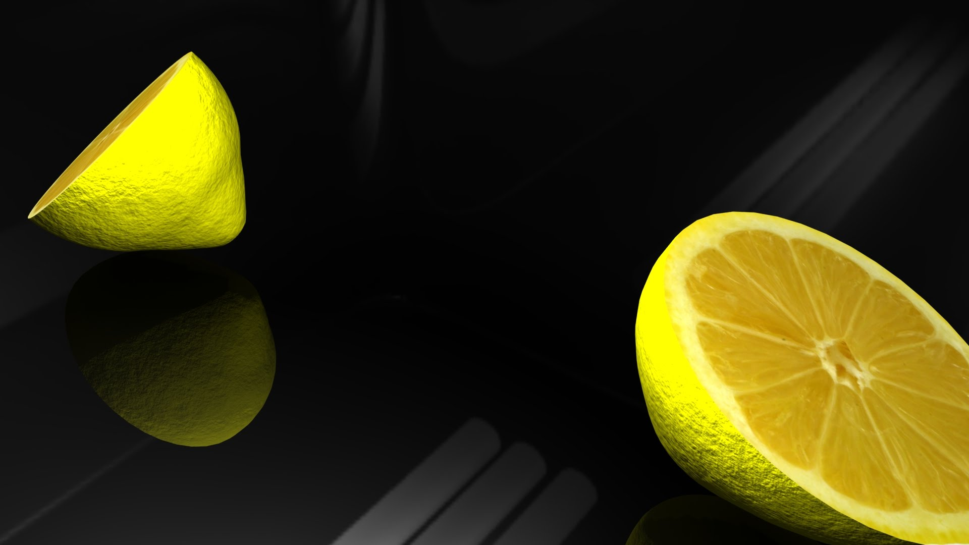 Model a lemon and cut it in half in Maya