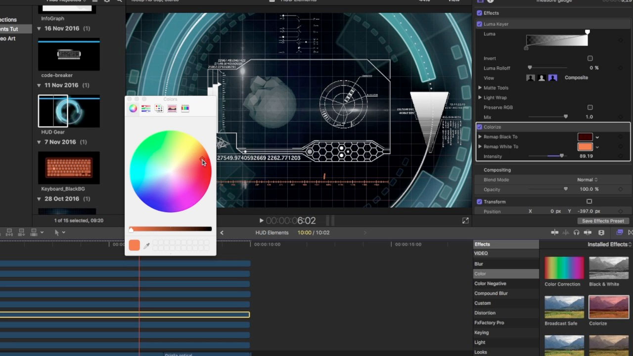 Luca Visual FX HUD Elements 4K Tutorial - make a HUD interface from scratch