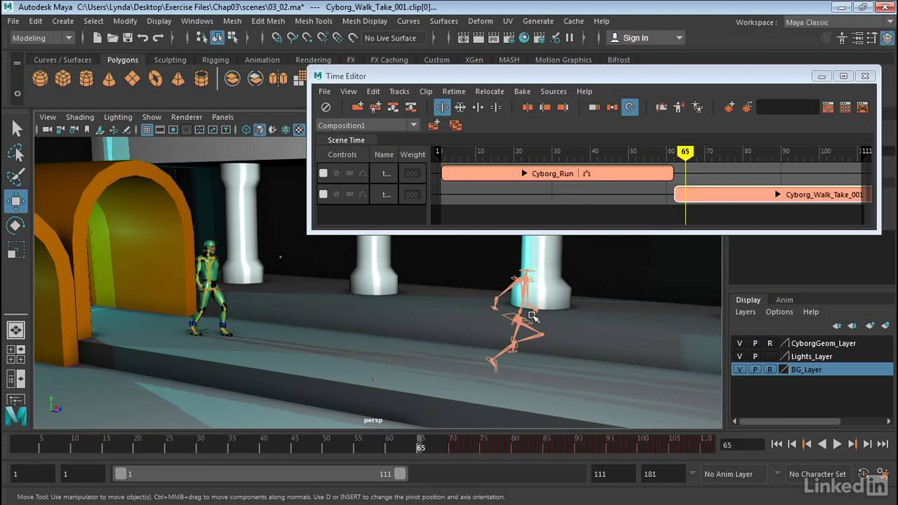 Maya: Time Editor | Ghosting clips