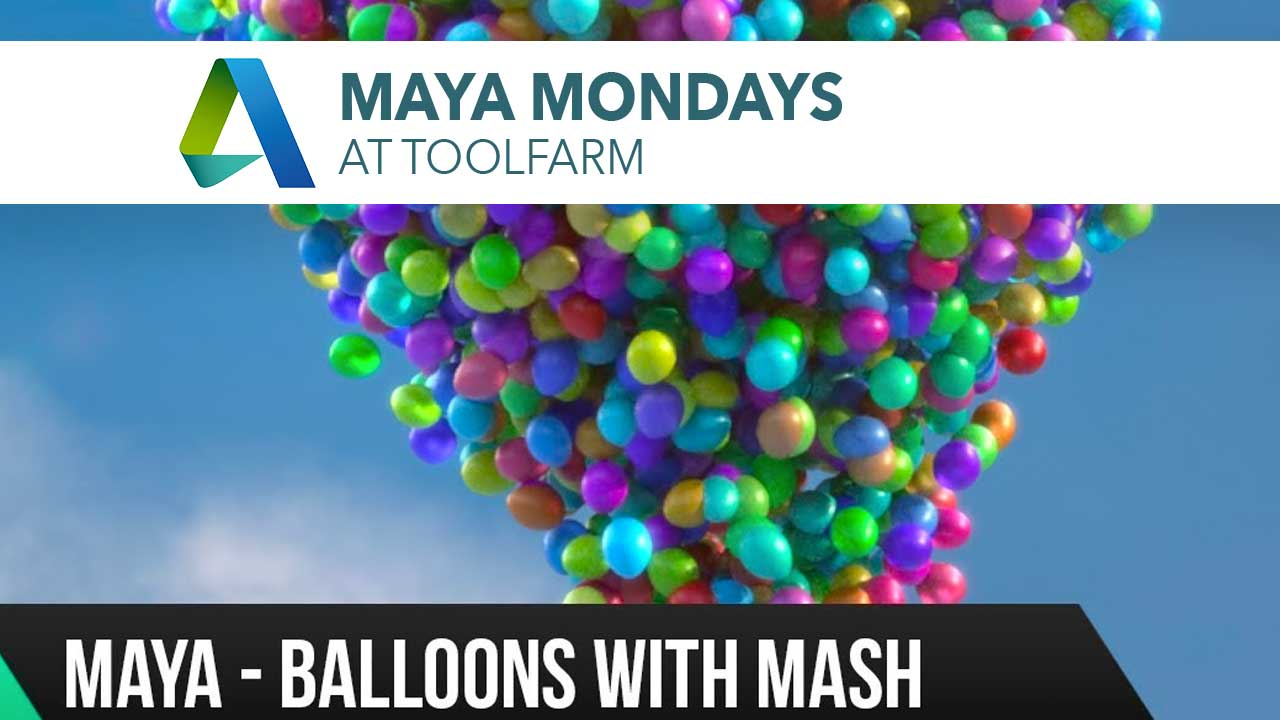 Maya 2017 MASH Tutorial - Scatter balloons and vertex color in Arnold