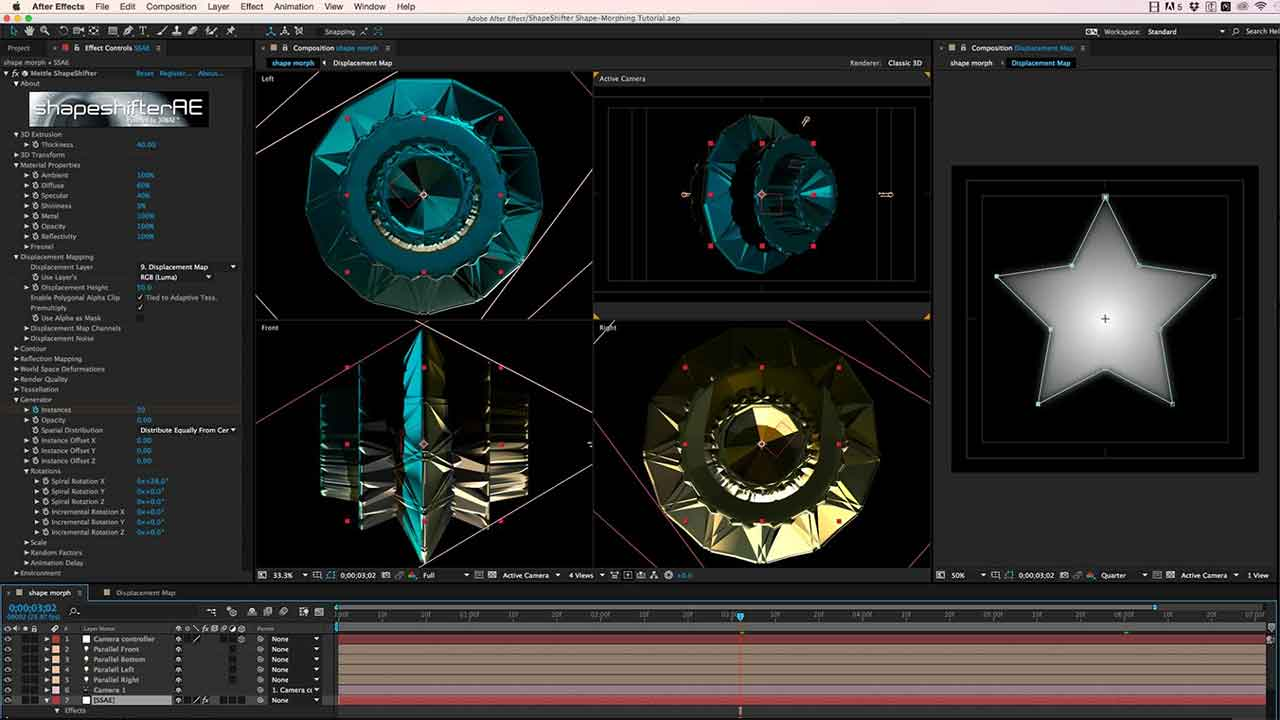 After Effects 3D Shape Morphing with Mettle ShapeShifter AE