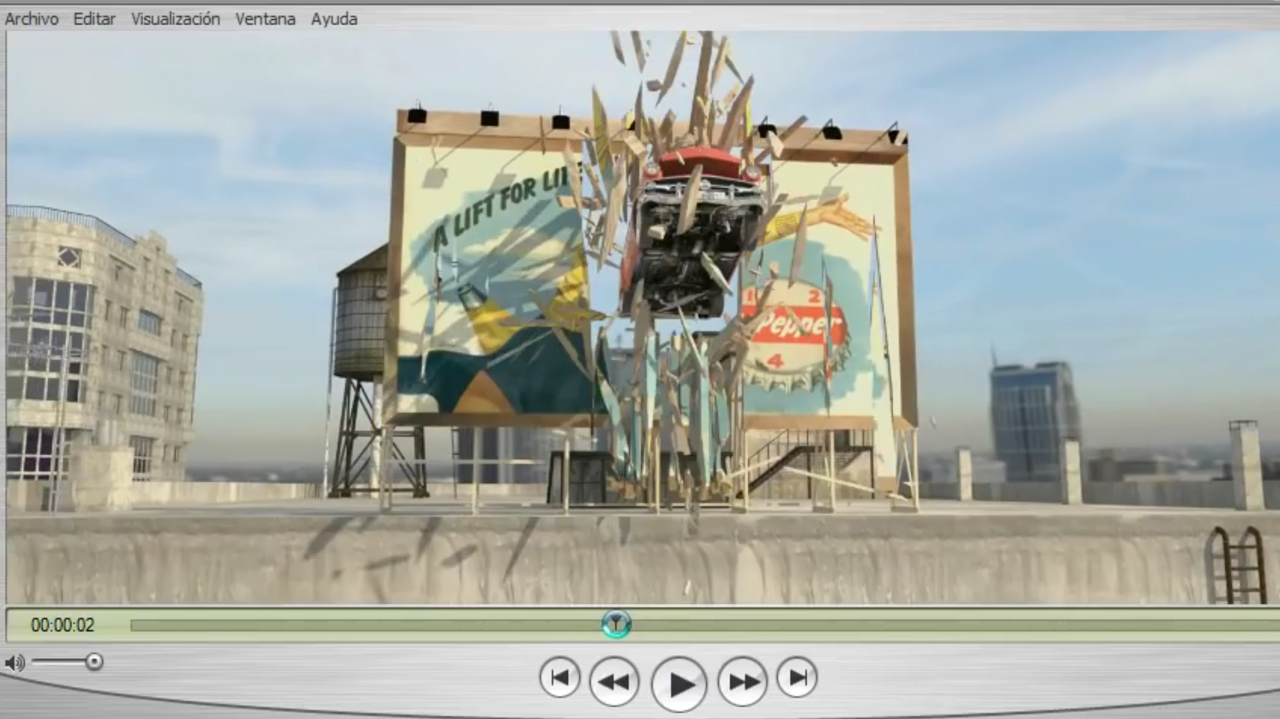 3ds Max: Destroy a Billboard with an Animated Car Using Pulldownit