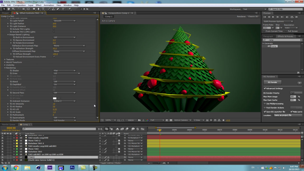 Low poly Cupcake Christmas tree with Trapcode Tao