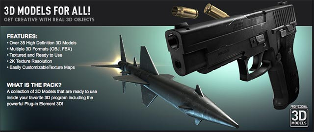 Video Copilot Projectile Weapons Model Pack